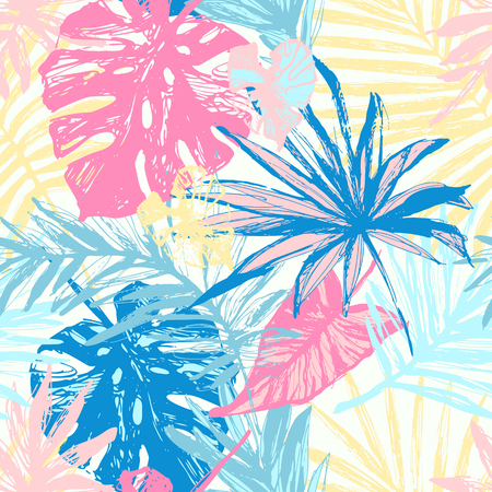 Hand drawn grunge textured tropical leaves seamless pattern. Tropical leaf silhouette elements background. Palm, fan palm, monstera, banana leaf in grunge style. Line art illustration