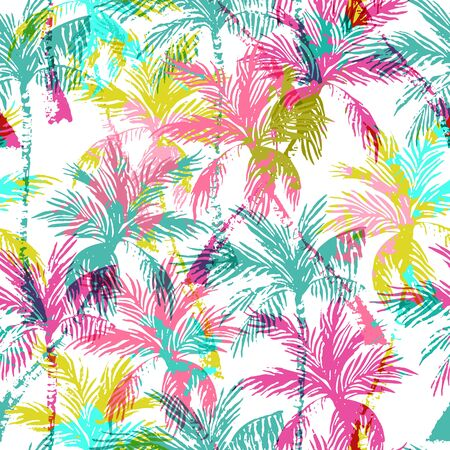 Abstract colorful palm trees seamless pattern. Vivid summer background. Hand drawn bright art illustration Banco de Imagens