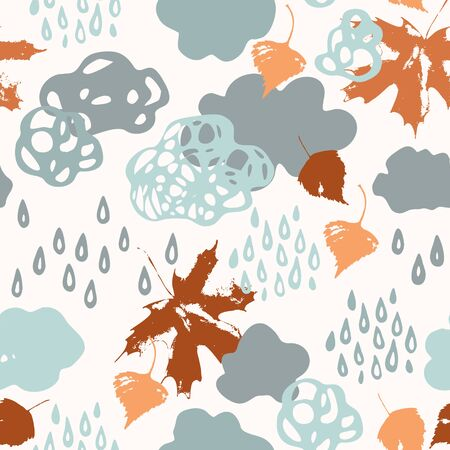 Watercolor fall shower seamless pattern. Cool watercolour rainy clouds, raindrops, falling leaves background. Hand draw illustration for autumn weather concept
