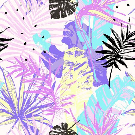Hand drawn grunge textured tropical leaves seamless pattern. Tropical leaf silhouette with minimal elements background. Palm, fan palm, monstera, banana leaf. Line art illustration