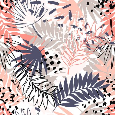 Abstract exotic leaves seamless pattern. Hand drawn tropical summer background: leaf contours, silhouette, splash, splatters, dots. Line art illustration in pastel retro colors