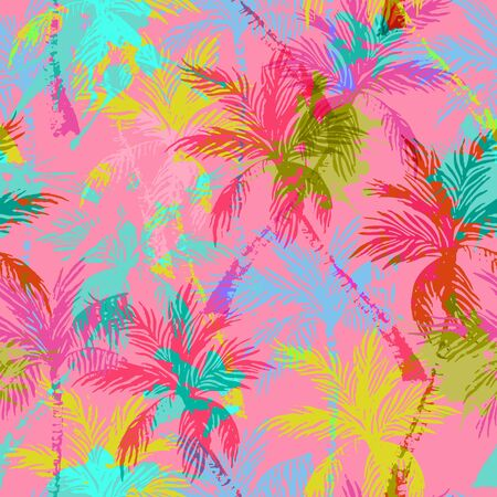 Abstract colorful palm trees seamless pattern. Vivid summer background with rough grunge textured brush strokes. Hand drawn bright art illustration Stockfoto