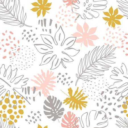 Abstract exotic leaves seamless pattern. Hand drawn tropical summer background: Philodendron monstera, palm leaf contours, silhouette, squiggles, dots. Botanical art illustration in pastel colors