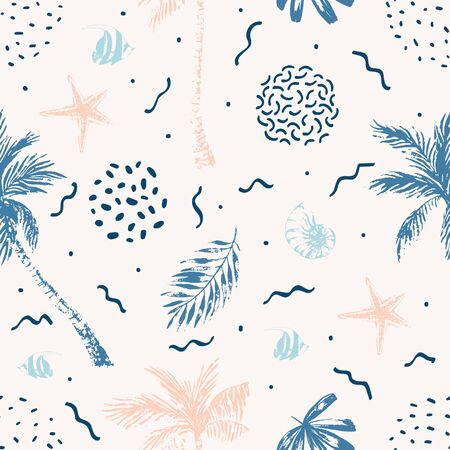 Nautical seamless pattern. Hand drawn summer beach background: palm trees, palm leaves, nautilus seashell, fish, starfish, 80s 90s memphis doodles. Art illustration Banco de Imagens