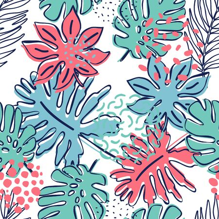 Abstract exotic leaves seamless pattern. Hand drawn tropical summer background: Philodendron monstera, fan palm leaves, contours of frond, squiggles, dots. Botanical art illustration in retro colors Stockfoto