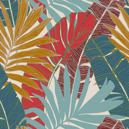 Nature seamless pattern. Hand drawn abstract tropical summer background : palm tree and banana leaves in silhouette, line art. Botanical art illustration in golden retro colors
