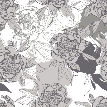 Line sketch peonies seamless pattern in black and white colors. Peony flowers background in silhouette, line art. Hand drawn botanical floral illustration