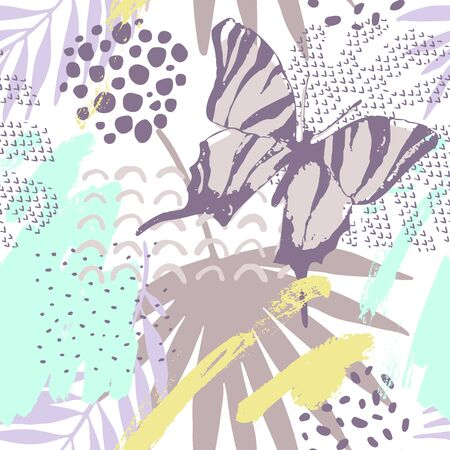 Abstract drawing in pastel color palette. Modern summer illustration with tropical leaf, butterfly, grunge textures, doodles, minimal elements. Creative seamless pattern with hand drawn shapes Banco de Imagens