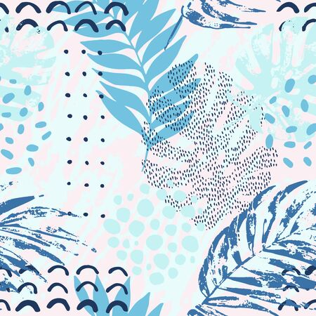 Abstract tropical drawing in cold pastel color palette. Modern botanical illustration with exotic leaves, grunge textures, doodles, minimal elements. Creative seamless pattern with hand drawn shapes