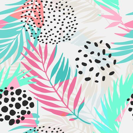 Abstract botanical summer seamless pattern. Floral and geometric background with triangles, palm leaves, doodle, gradient texture, 80s 90s shapes, pop art, memphis elements. Hand drawn natural illustration Banco de Imagens
