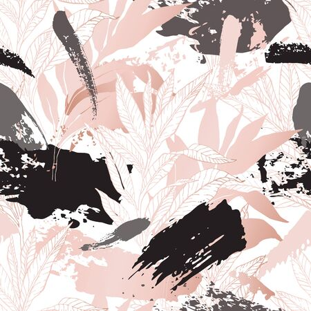Nature seamless pattern. Hand drawn abstract floral background: line art leaves, grunge brush strokes with glossy gradient effect. Botanical art illustration in pastel gold rose pink color