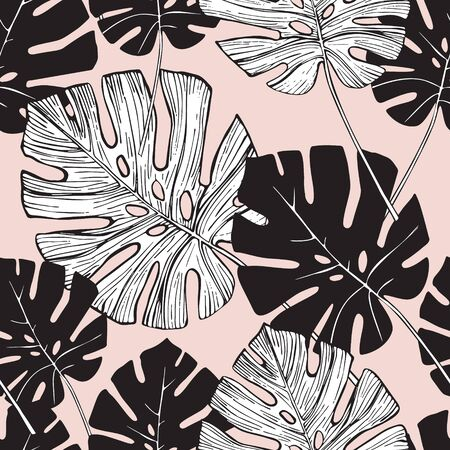 Tropical leaf silhouette elements background. Hand drawn monstera leaves in silhouette, line art styles. Trendy seamless pattern for summer design. Botanical illustration in black and white colors