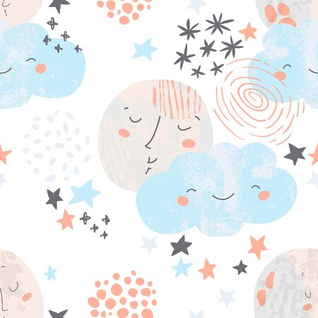 Cute moon sleeping, smiling cloud, starry sky, doodle background. Night dream Illustration of moon, planets, stars. Artistic nursery seamless pattern in scandinavian color style