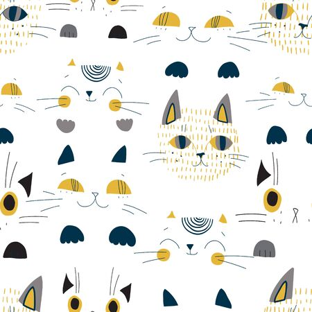 Cute cats muzzles seamless pattern. Artistic nursery background. Childish art illustration for kids design, fabric, wrapping, textile, scrapbooking etc Banco de Imagens