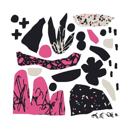 Abstract cutout flower, leaf, terrazzo flooring elements isolated. Turned edges geometric shapes background for creative surface design. Digital mosaic art illustration in black, pink colors Banco de Imagens