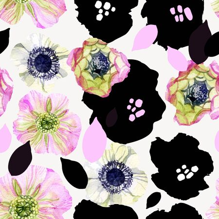 Abstract floral seamless pattern: hand drawn, digital flowers in black, pink colors with watercolor, grunge textures Creative artistic background. Art illustration for surface design, fabric, wrapping Banco de Imagens