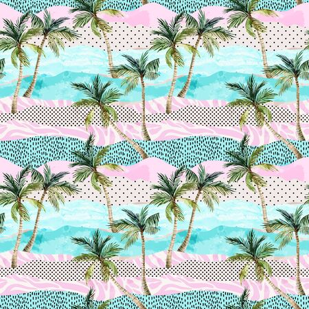 Abstract summer beach background. Art illustration with watercolor palm trees, doodles and grunge textures. Geo design in 80s, 90s minimal style. Hand painted beach seamless pattern