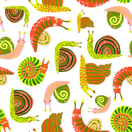 Hand painted watercolor snail seamless pattern in bright colors Banco de Imagens