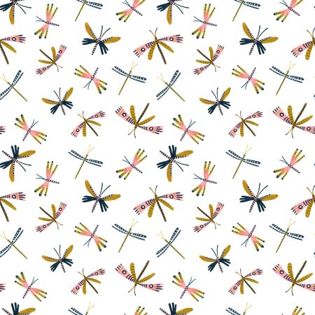 Decorative watercolor dragonfly seamless pattern in golden, pastel colors. Hand painted art illustration for cute boho, nursery surface design