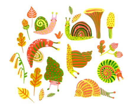 Hand painted watercolor snail set in autumn colors. Cute colorful snails, flowers, leaves, mushrooms isolated on white background. Nursery art illustration. Fall woodland poster