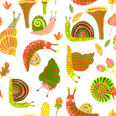 Hand painted watercolor snail seamless pattern in autumn colors. Cute colorful snails background for surface design, fabric, wrapping, textile, scrapbooking. Nursery art illustration. Fall woodland Banco de Imagens