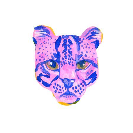 Unusual watercolor wild cat