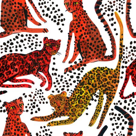 Creative watercolor seamless pattern with leopards, jaguar and cheetah