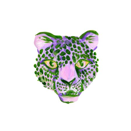 Unusual watercolor jaguar muzzle isolated on white Reklamní fotografie