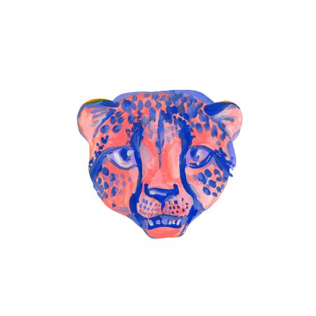 Cool watercolor cheetah muzzle isolated on white