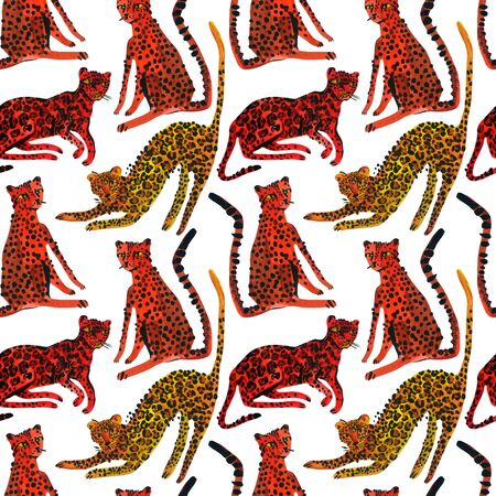 Creative watercolor seamless pattern with leopards, jaguar and cheetah.