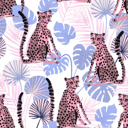 Modern trendy seamless pattern with cute watercolor leopards and tropical leaves. Wild cats background for textile, prints, fabric etc. Hand painted summer illustration in pastel colors