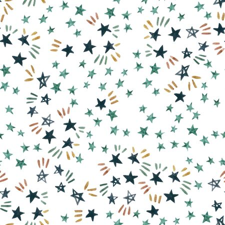 Starry sky seamless pattern with dark sparkle stars on white background. Watercolor doodle illustration. Water color star repeating pattern. Constellations wallpaper