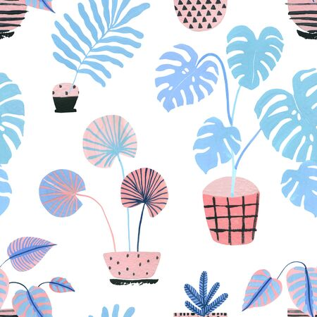 Cute tropical pot plants in house seamless pattern. Watercolor potted houseplants background in scandinavian geometric style. Watercolour potted flowers illustration for interior home design