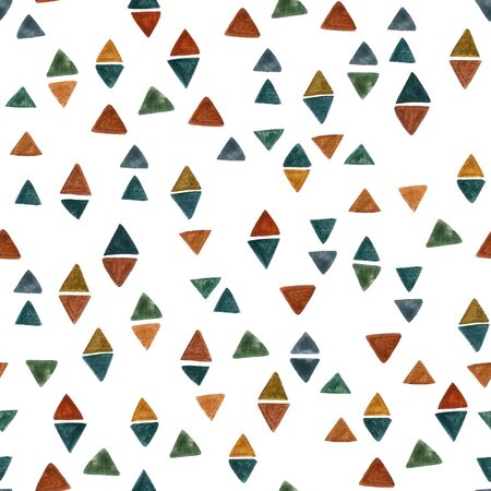 Abstract watercolor rhombus and triangle background. Colorful geometric tile. Diamond geometry seamless pattern for modern graphic design, fabric, wallpaper