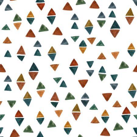 Abstrakte Aquarellraute und Dreieckshintergrund. Bunte geometrische Fliese. Nahtloses Muster der Diamantgeometrie für modernes Grafikdesign, Gewebe, Tapeten