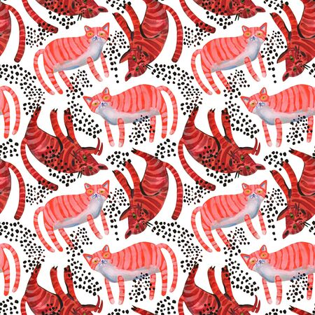 Watercolor cute cats seamless pattern. Sweet red cats art background. Nursery design in scandinavian minimal style. Hand painted kids background for textile, fabric, wrapping paper etc