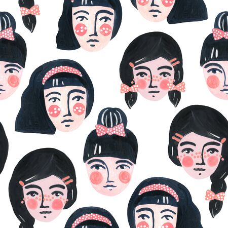 Cute cartoon girl faces seamless pattern. Watercolor portraits of women on white background. Woman abstract face wallpaper. Hand painted pretty female character drawing
