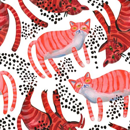 Watercolor cute cats seamless pattern. Sweet red striped cats art background. Nursery design in scandinavian minimal style. Hand painted kids background for textile, fabric, wrapping paper etc