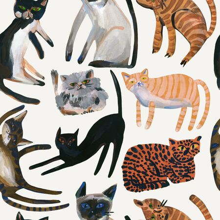Watercolor cute cats seamless pattern. Sweet cat art background. Nursery design in scandinavian style. Hand painted kids background for textile, fabric, wrapping paper etc