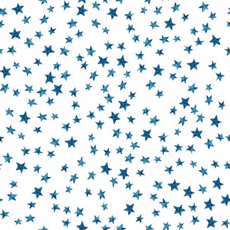 Starry sky seamless pattern with blue monochrome stars on white background. Watercolor doodle illustration. Water color star repeating pattern. Constellations wallpaper