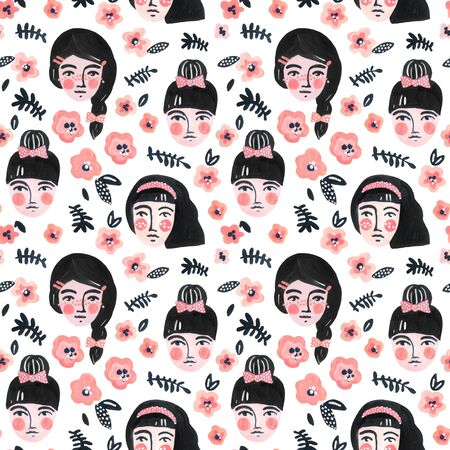 Cute cartoon girl faces seamless pattern. Watercolor portraits of women on floral background. Woman abstract face with flowers wallpaper. Hand painted pretty female character drawing