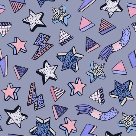Simple watercolor seamless pattern in minimal memphis style with stars, triangles, stripes. Trendy design for Christmas background, wallpaper, wrapping paper, wallpapers. Hand drawn art illustration 写真素材