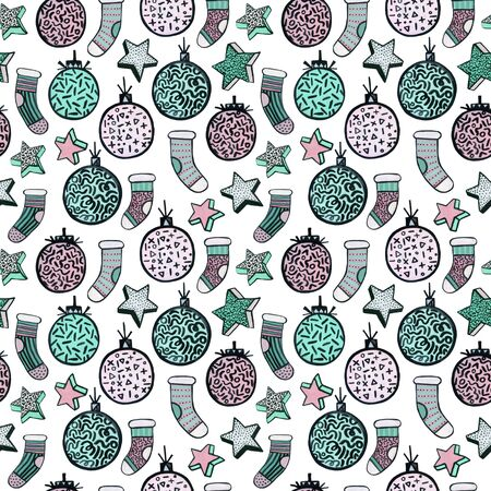 Christmas watercolor seamless pattern in minimal memphis style with stars, socks, balls. Trendy design for celebration background, wallpaper, wrapping paper, wallpapers. Hand drawn art illustration