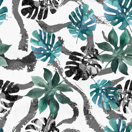 Abstract unusual summer background. Watercolor tropical leaves, paint textured brush strokes, lines, smears, stripes. Art surface design with grunge, marbling effect. Hand painted illustration 写真素材