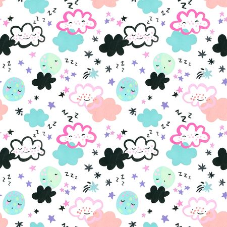 Funny sleeping moons, clouds, stars background. Watercolor drawing of cartoon dreaming moon, cloud, star in pastel colors. Nursery art seamless pattern. Hand painted cute sky characters illustration