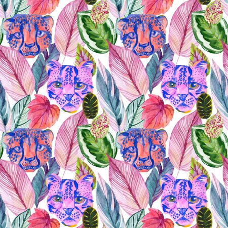 Bright watercolor tropical botanical illustration with colorful leaves and wild animal heads. Water color exotic jungle seamless pattern for summer design. Animal skin print. African wallpaper