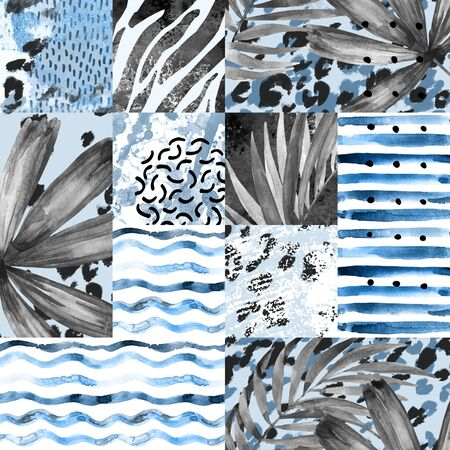 Watercolor tropical summer seamless pattern. Hand painted water color palm leaves, stripes, animal print, doodles, grunge and watercolour textures geometric background.Creative artistic illustration 写真素材