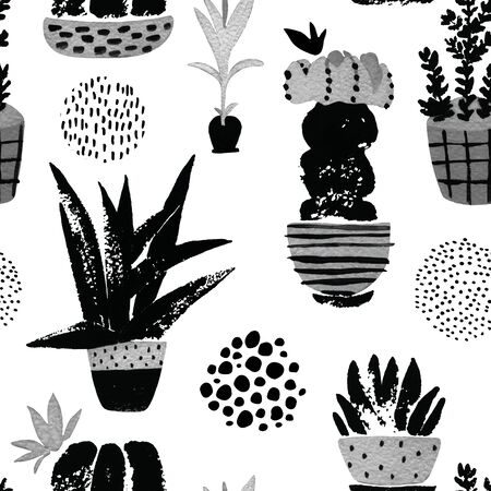 Graphic seamless pattern with cute cacti in ornated pots. Hand painted botanical illustration with watercolor, grunge textures, doodles, pink flowers cactus for home art design in minimal nordic style