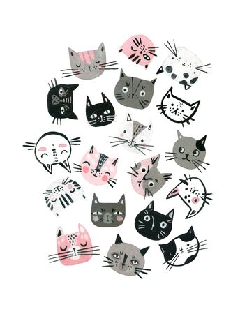 Cartoon watercolor cats muzzles set in pastel colors. Cute kitten faces background for kids poster, cover design. Hand painted art illustration in scandinavian style Banco de Imagens