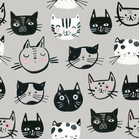 Watercolor cute cats faces seamless pattern. Sweet cat muzzles monochrome background. Nursery design in scandinavian style. Hand painted childish background for textile, fabric, wrapping paper 写真素材